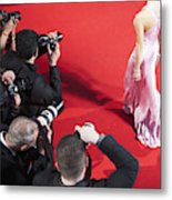 Paparazzi taking pictures of celebrity on red carpet Metal Print