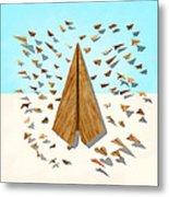 Paper Airplanes Of Wood 10 Metal Print