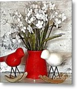 Paper Bouquet And Rocking Birds Metal Print