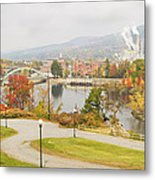 Paper Mill And Fall Colors In Rumford Maine Metal Print