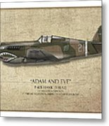 Pappy Boyington P-40 Warhawk - Map Background Metal Print