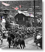 Parade Bisbee Arizona July 4th 1909 Color Added 2013 Metal Print