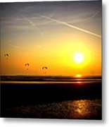 Paragliders At Sunset Metal Print