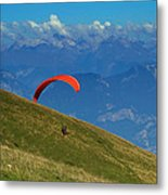 Paragliding In The Mountains Metal Print