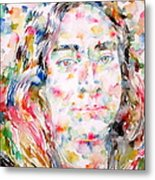 Paramahansa Yogananda Watercolor Portrait Metal Print