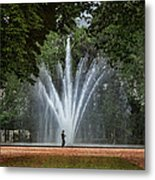 Parc De Bruxelles Fountain Metal Print