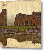 Parchment Texture Kirby Muxloe Castle Metal Print