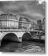 Paris Black And White Metal Print