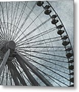 Paris Blue Ferris Wheel Metal Print