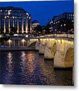 Paris Blue Hour - Pont Neuf Bridge And La Samaritaine Metal Print