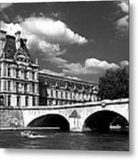 Paris Building In Bw Metal Print