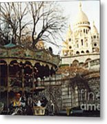 Paris Carousel Merry Go Round Montmartre - Carousel At Sacre Coeur Cathedral  Metal Print