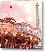 Paris Carrousel De Paris - Eiffel Tower Carousel Merry Go Round - Paris Baby Girl Nursery Decor Metal Print
