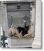 Paris Cemetery Cat - Le Chats Noir - Pere Lachaise - Black Cat On Grave Cemetery Art Metal Print by Kathy Fornal