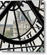 Paris Clock Metal Print