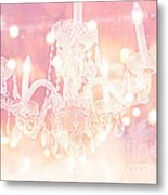 Paris Dreamy Ethereal Chandelier Art - Dreamy Pink Bokeh Sparkling Paris Chandelier Art Deco Metal Print by Kathy Fornal