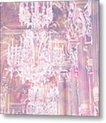 Paris Dreamy Ethereal Chandelier Opera House - Paris Lavender Pink Dreamy Chandelier Opera House Metal Print by Kathy Fornal