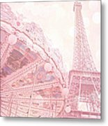 Paris Dreamy Pink Carousel And Eiffel Tower - Eiffel Tower Carousel - Paris Baby Girl Nursery Room Metal Print