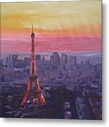Paris Eiffel Tower At Dusk Metal Print
