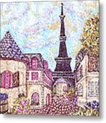 Paris Eiffel Tower Skyline Inspired Pointillist Landscape Metal Print