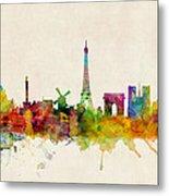 Paris France Skyline Panoramic Metal Print