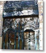 Paris Guerlain Storefront Boutique - Paris Guerlain Blue Door Art Nouveau Art Deco Door Metal Print