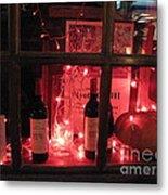 Paris Holiday Christmas Wine Window Display - Paris Red Holiday Wine Bottles Window Display  Metal Print by Kathy Fornal