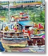 Paris House Boat Metal Print