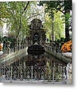 Paris Jardin Du Luxembourg Gardens Autumn Fall  - Medici Fountain Sculpture Autumn Fall Photographs Metal Print