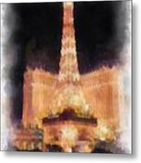 Paris Las Vegas Photo Art Metal Print