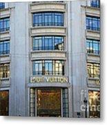 Paris Louis Vuitton Fashion Boutique - Louis Vuitton Designer Storefront In Paris Metal Print