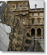 Paris - Louvre Reflecting In The Pyramid  Metal Print