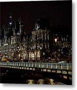 Paris Night Along The Seine Metal Print