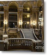 Paris Opera House Interior Romantic Staircase Balconies And Architecture  Metal Print by Kathy Fornal