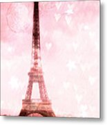 Paris Pink Eiffel Tower - Shabby Chic Paris Dreamy Pink Eiffel Tower With Hearts And Stars Metal Print
