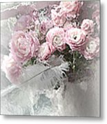Paris Pink Impressionistic French Roses And Ranunculus - Shabby Chic Romantic Pink Flowers Metal Print