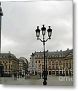 Paris Place Vendome Architecture Monuments Street Lamps And Buildings  Metal Print