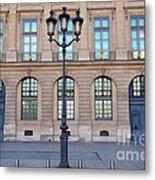 Paris Place Vendome Street Architecture Blue Doors And Street Lamps  Metal Print