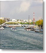 Paris River Cityscape Metal Print