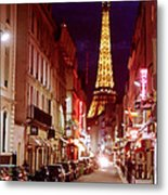 Paris Romantic Night Lights Metal Print