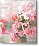 Paris Shabby Chic Dreamy Pink Peach Impressionistic Romantic Cottage Chic Paris Flower Photography Metal Print