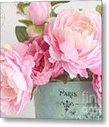 Paris Peonies Shabby Chic Dreamy Pink Peonies Romantic Cottage Chic Paris Peonies Floral Art Metal Print
