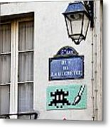 Paris Street Art - Space Invader Metal Print