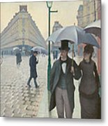 Paris Street In Rainy Weather Metal Print