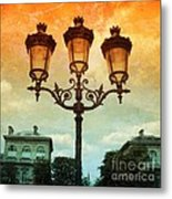 Paris Street Lamps With Textures And Colors Metal Print