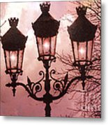 Paris Street Lanterns - Paris Romantic Dreamy Surreal Pink Paris Street Lamps  Metal Print
