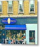 Paris Style French Bistro Art Sidewalk Cafe Terrace  Antique Shop C Spandau Montreal City Paintings Metal Print