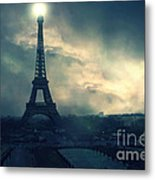 Paris Surreal Eiffel Tower Storm Clouds Sun Setting - Teal Aqua Dark Green Eiffel Tower Landscape Metal Print