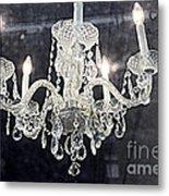 Paris Surreal Silver Crystal Chandelier - Paris Cafe Chandelier Art  Metal Print by Kathy Fornal