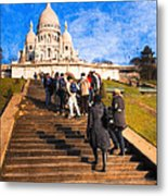 Paris - The Long Climb To Sacre Coeur Metal Print by Mark E Tisdale